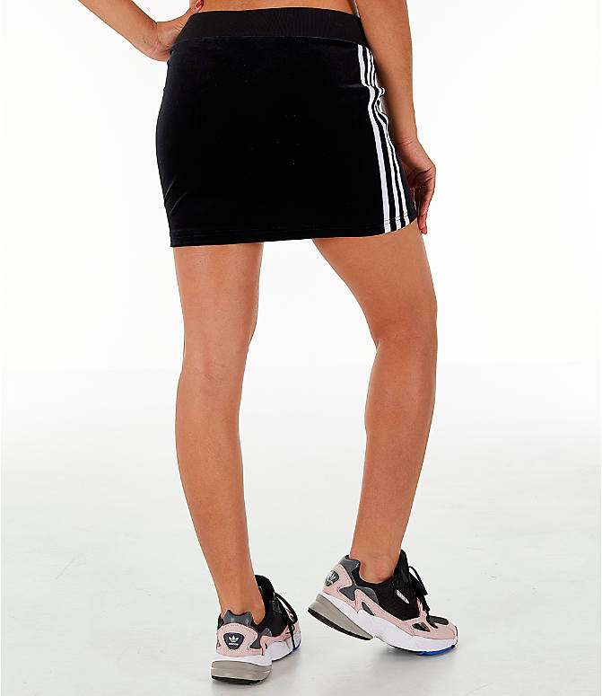 Back Right view of Women's adidas Originals Velour 3-Stripes Skirt in Black/White
