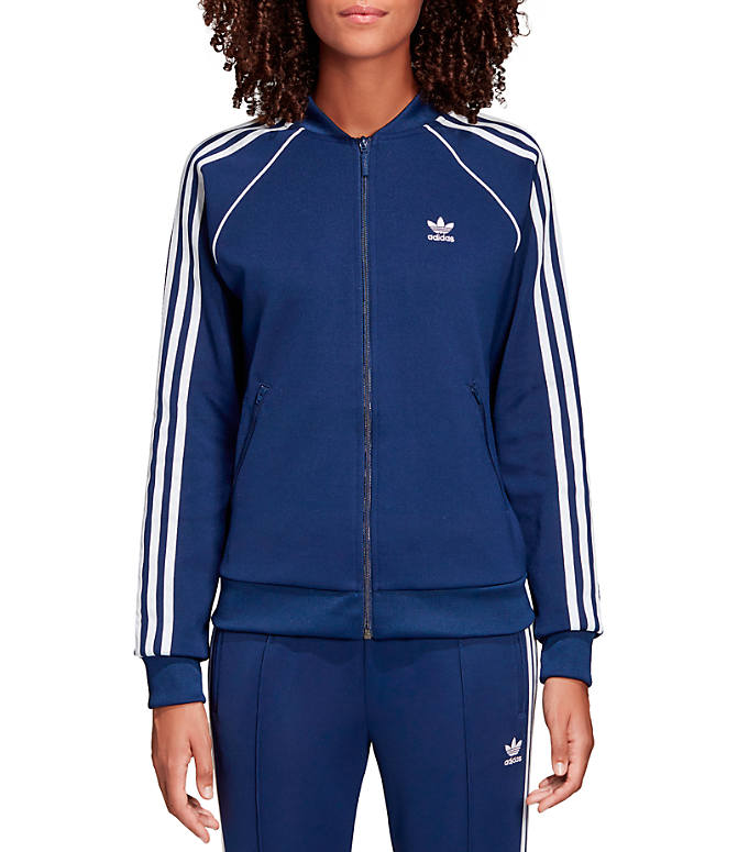 Front view of Women's adidas Originals Superstar Track Jacket in Blue