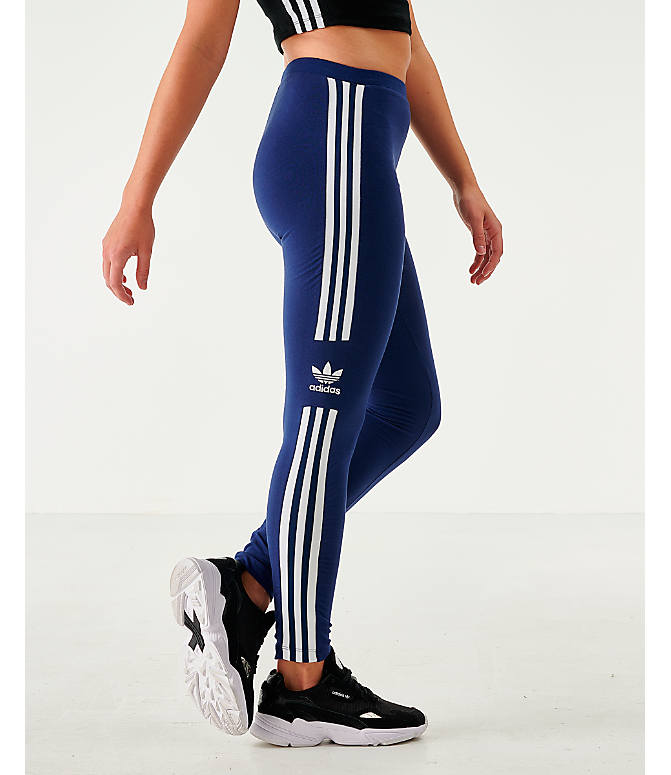Front view of Women's adidas Originals Trefoil Leggings in Navy/White