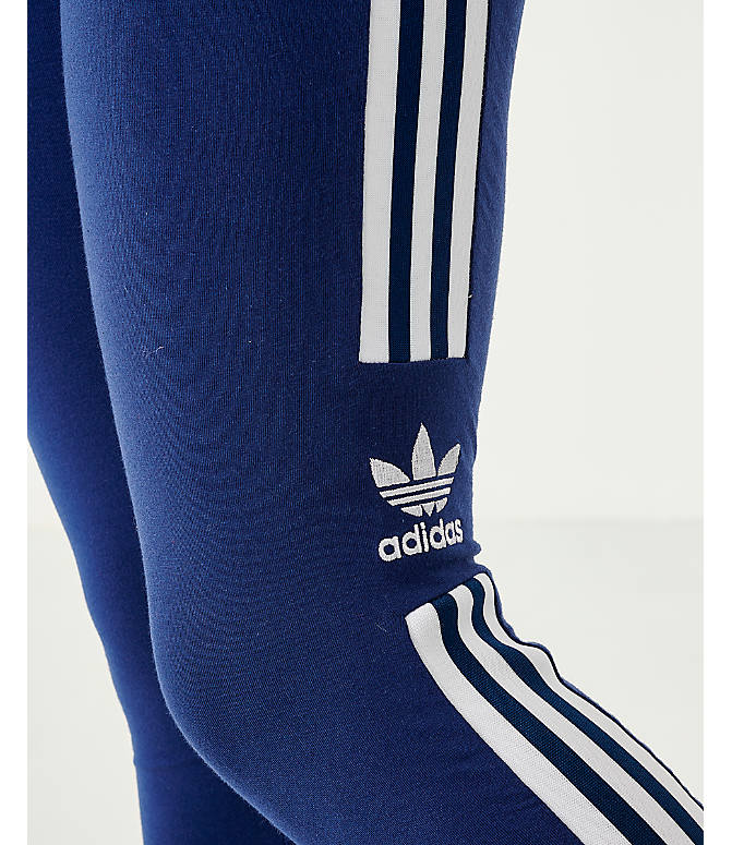 Back Right view of Women's adidas Originals Trefoil Leggings in Navy/White