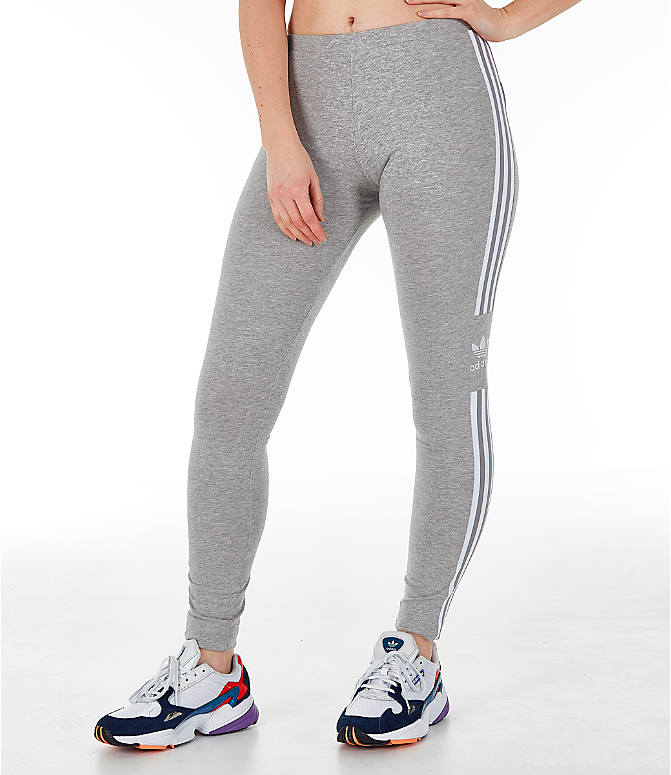 Front view of Women's adidas Originals Trefoil Leggings in Medium Grey Heather