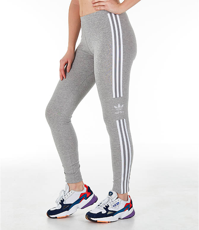 18ef3164e57 Front Three Quarter view of Women s adidas Originals Trefoil Leggings in  Medium Grey Heather