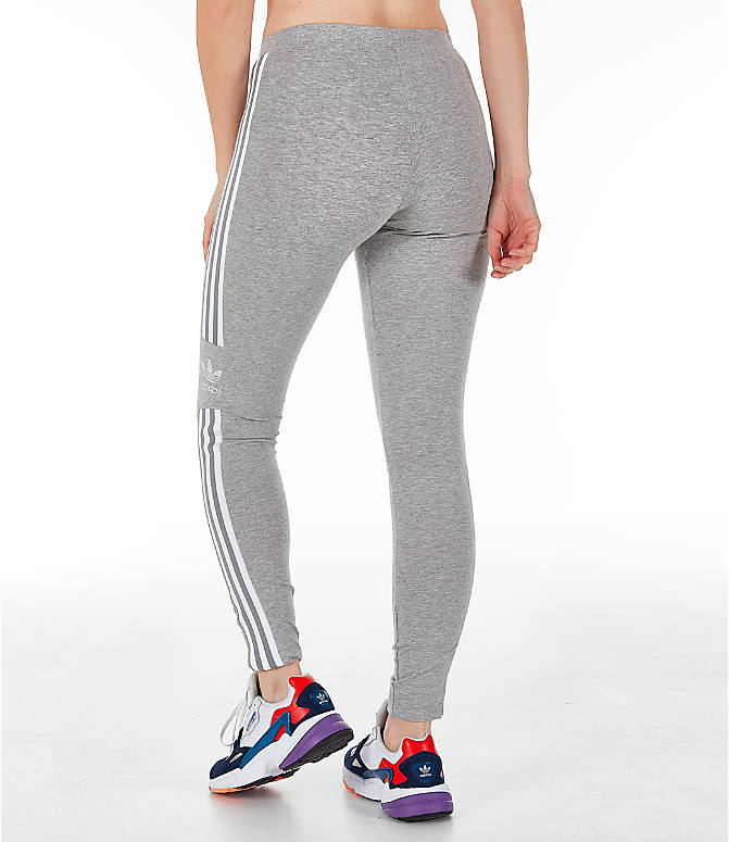 Back Left view of Women's adidas Originals Trefoil Leggings in Medium Grey Heather