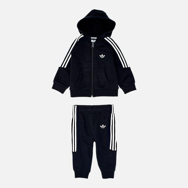 Front view of Infant and Toddler adidas Originals Radkin Hoodie Set in Black
