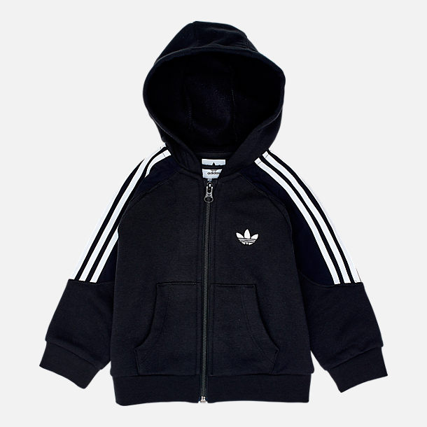 Back view of Infant and Toddler adidas Originals Radkin Hoodie Set in Black