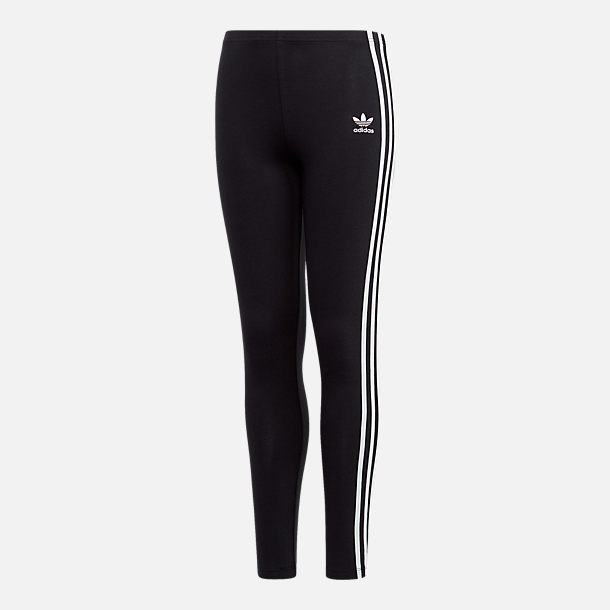 Front view of Girls' adidas Originals 3-Stripes Leggings in Black/White