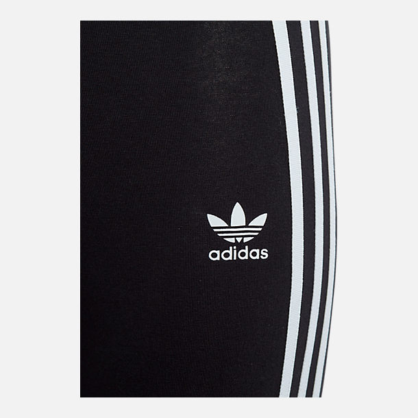 Back view of Girls' adidas Originals 3-Stripes Leggings in Black/White