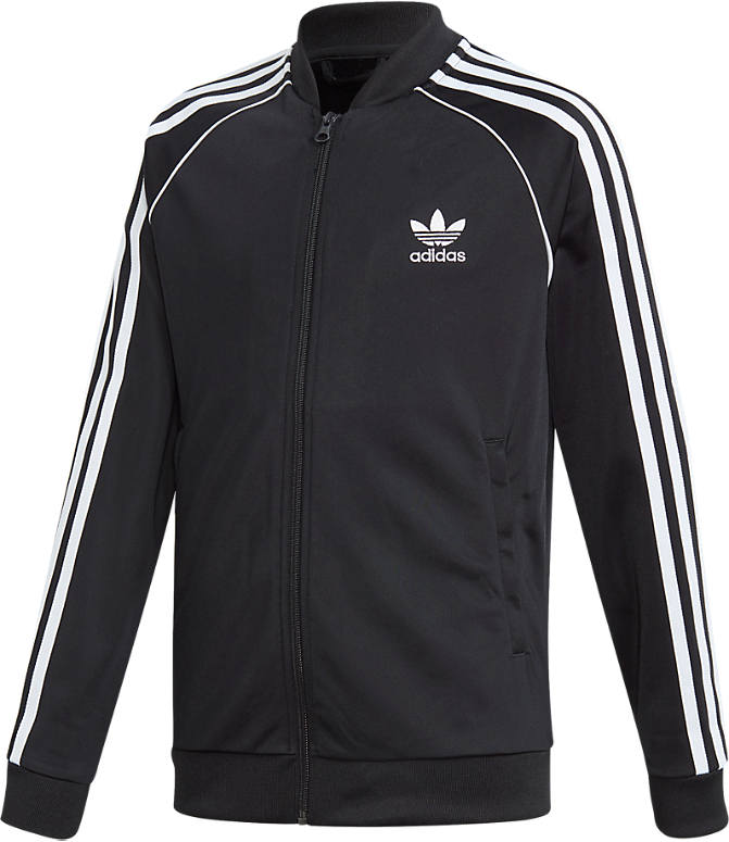Front view of Kids' adidas Originals Trefoil Track Jacket in Black/White