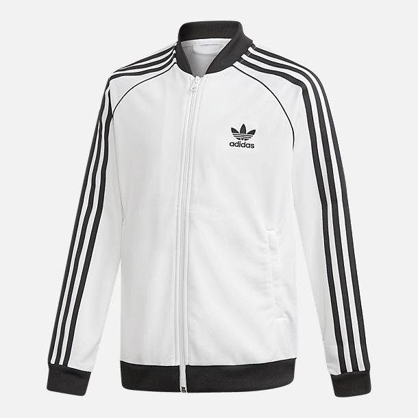 Front view of Kids' adidas Originals Trefoil Track Jacket in White/Black