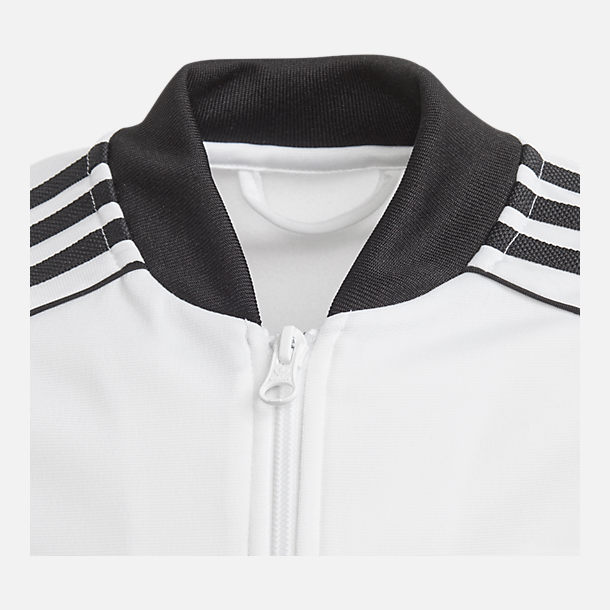 Back view of Kids' adidas Originals Trefoil Track Jacket in White/Black