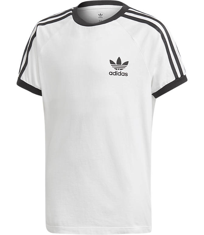 Front view of Boys' adidas Originals 3-Stripes T-Shirt in White/Black
