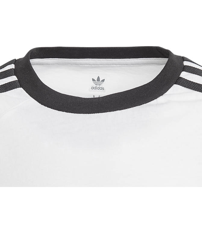 Back view of Boys' adidas Originals 3-Stripes T-Shirt in White/Black