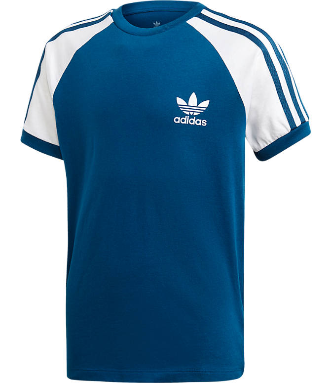 Front view of Boys' adidas Originals 3-Stripes T-Shirt in Marine Blue