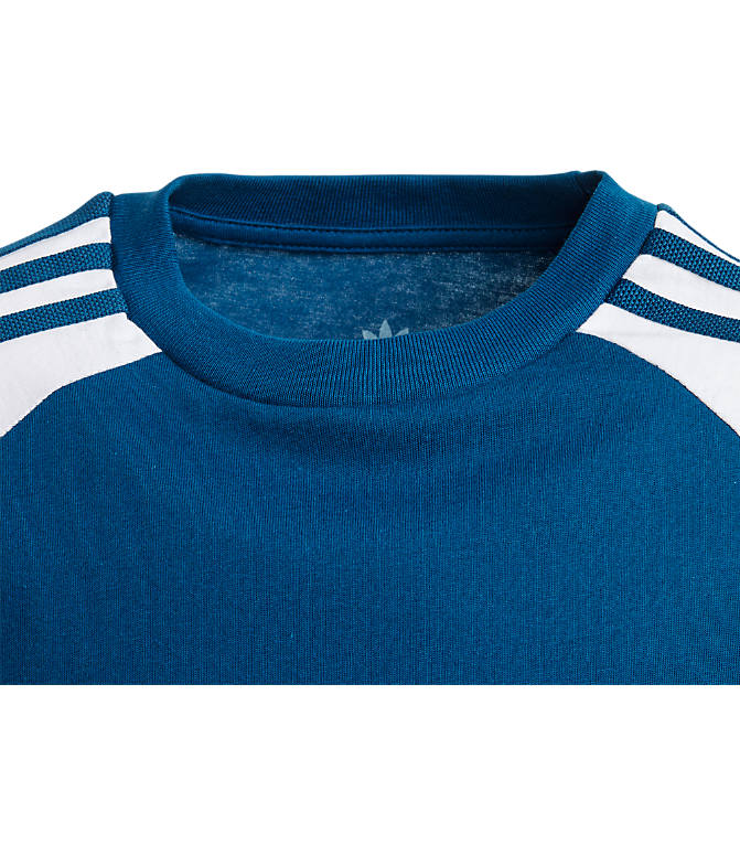 Back view of Boys' adidas Originals 3-Stripes T-Shirt in Marine Blue