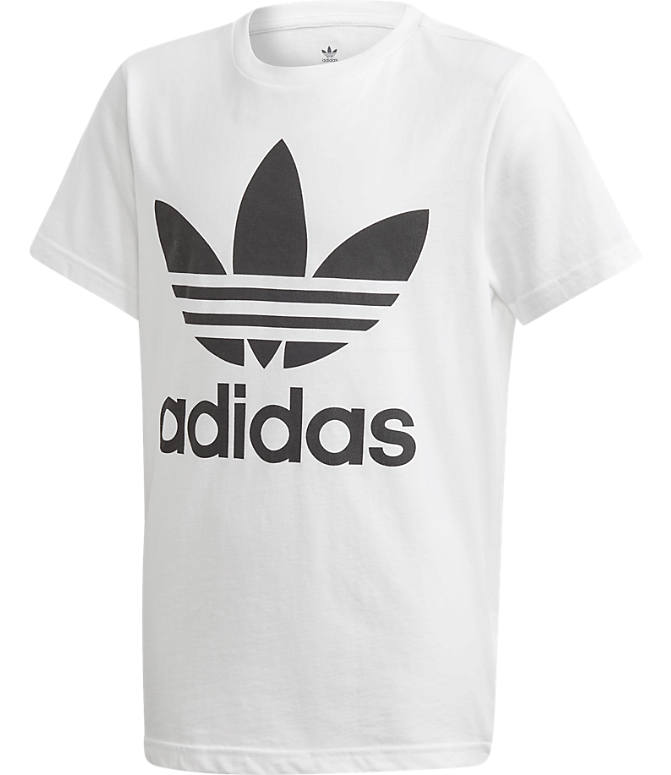 Front view of Kids' adidas Originals Trefoil T-Shirt in White/Black