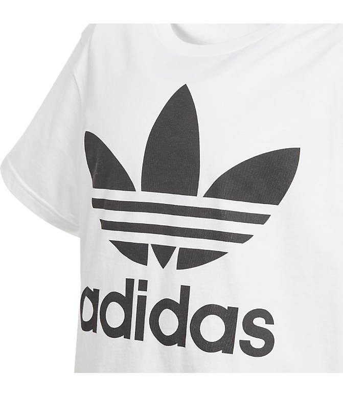 Back view of Kids' adidas Originals Trefoil T-Shirt in White/Black