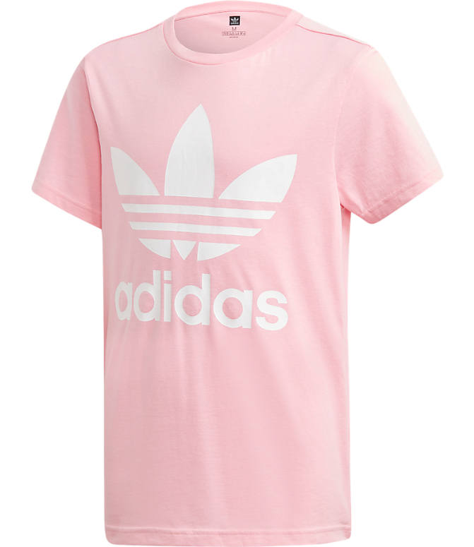 b192fb4210 Front view of Girls' adidas Originals Trefoil T-Shirt in Pink/White