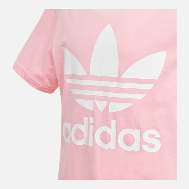 Back view of Girls' adidas Originals Trefoil T-Shirt in Pink/White