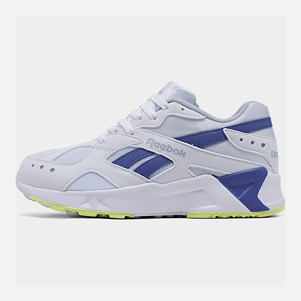 release date: cbb30 ad37b Right view of Men s Reebok Classics Aztrek Casual Shoes in White Royal Lime