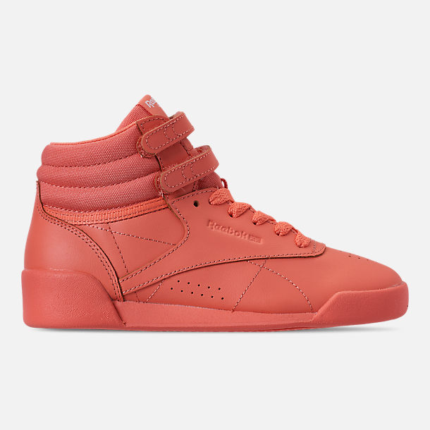 Right view of Girls' Little Kids' Reebok Freestyle Hi Casual Shoes in Stellar Pink/White/Peach Twist