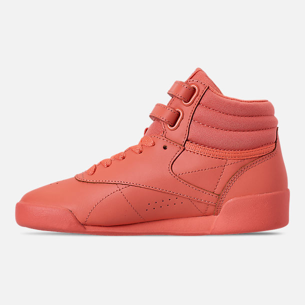 Left view of Girls' Little Kids' Reebok Freestyle Hi Casual Shoes in Stellar Pink/White/Peach Twist