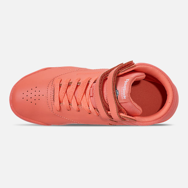 Top view of Girls' Little Kids' Reebok Freestyle Hi Casual Shoes in Stellar Pink/White/Peach Twist