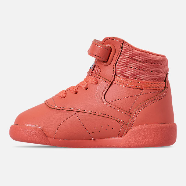 Left view of Girls' Toddler Reebok Freestyle Hi Casual Shoes in Stellar Pink/White/Peach Twist