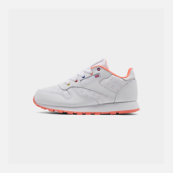 Right view of Girls' Little Kids' Reebok Classic Leather Casual Shoes