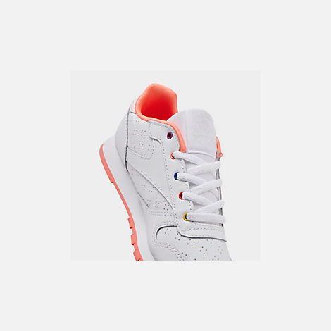 Front view of Girls' Little Kids' Reebok Classic Leather Casual Shoes
