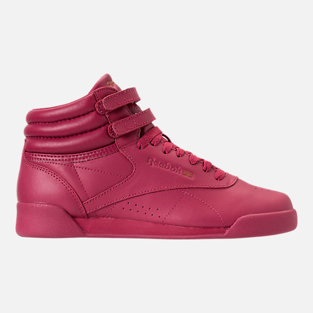 Right view of Girls' Grade School Reebok Freestyle Hi Casual Shoes in Twisted Berry w/ Rose Gold