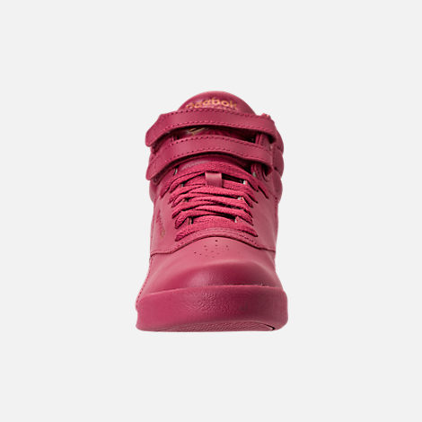 Front view of Girls' Grade School Reebok Freestyle Hi Casual Shoes in Twisted Berry w/ Rose Gold