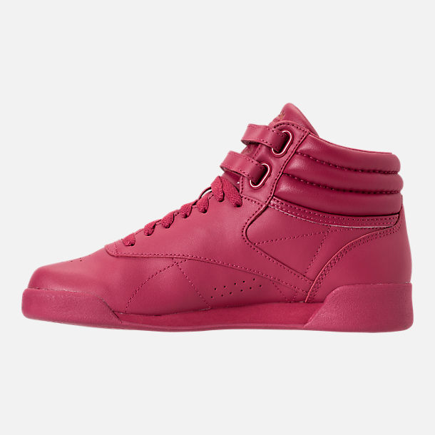 Left view of Girls' Grade School Reebok Freestyle Hi Casual Shoes in Twisted Berry w/ Rose Gold