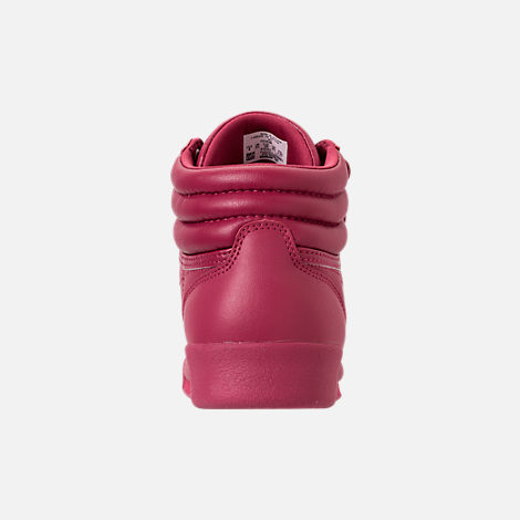 Back view of Girls' Grade School Reebok Freestyle Hi Casual Shoes in Twisted Berry w/ Rose Gold