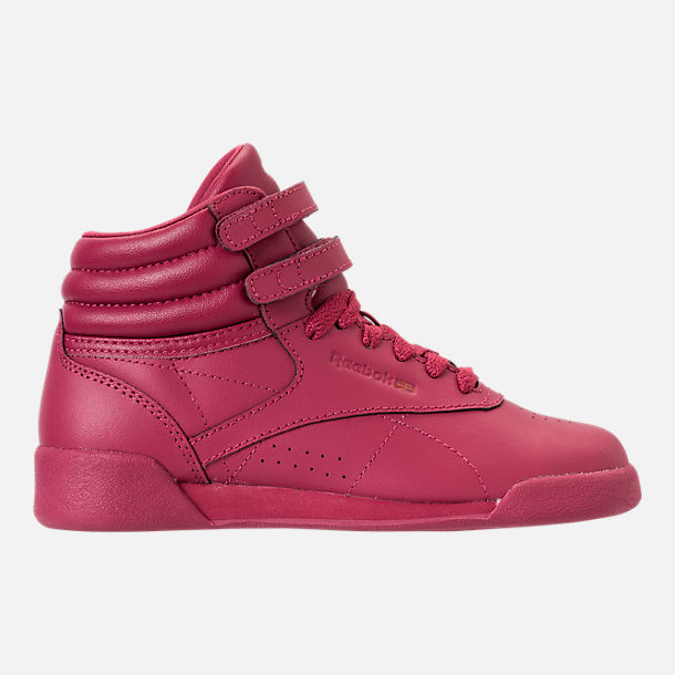 Right view of Girls' Preschool Reebok Freestyle Hi Casual Shoes in Twisted Berry w/ Rose Gold