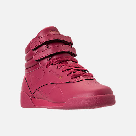 Three Quarter view of Girls' Preschool Reebok Freestyle Hi Casual Shoes in Twisted Berry w/ Rose Gold