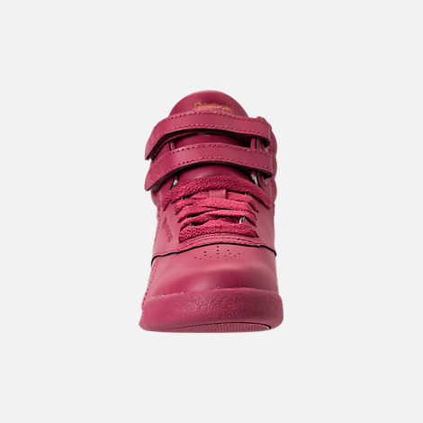 Front view of Girls' Preschool Reebok Freestyle Hi Casual Shoes in Twisted Berry w/ Rose Gold