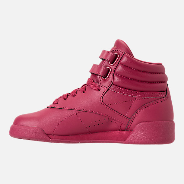 Left view of Girls' Preschool Reebok Freestyle Hi Casual Shoes in Twisted Berry w/ Rose Gold