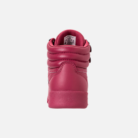 Back view of Girls' Preschool Reebok Freestyle Hi Casual Shoes in Twisted Berry w/ Rose Gold