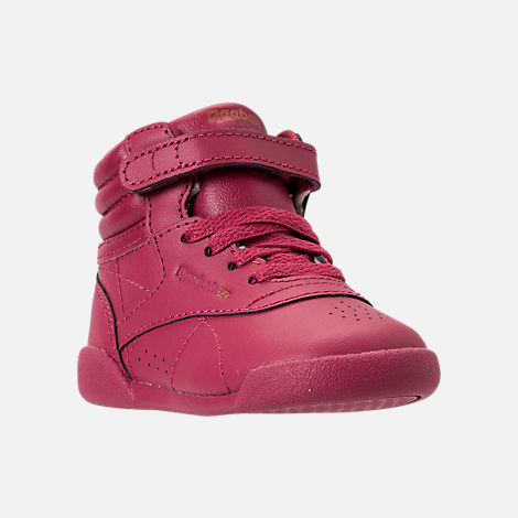 Three Quarter view of Girls' Toddler Reebok Freestyle Hi Casual Shoes in Twisted Berry/Rose Gold