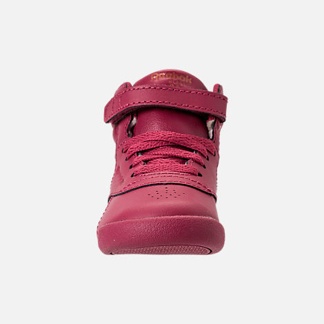 Front view of Girls' Toddler Reebok Freestyle Hi Casual Shoes in Twisted Berry/Rose Gold