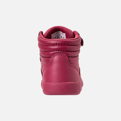 Back view of Girls' Toddler Reebok Freestyle Hi Casual Shoes in Twisted Berry/Rose Gold