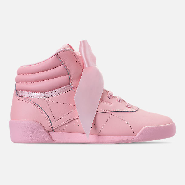 Right view of Girls' Little Kids' Reebok Freestyle Hi Satin Bow Casual Shoes in Saturated Luster Pink