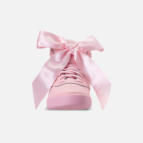 Front view of Girls' Little Kids' Reebok Freestyle Hi Satin Bow Casual Shoes in Saturated Luster Pink