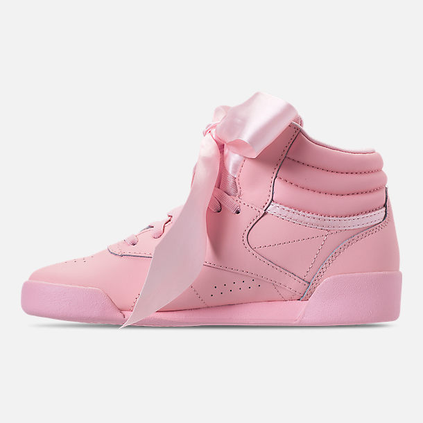 Left view of Girls' Little Kids' Reebok Freestyle Hi Satin Bow Casual Shoes in Saturated Luster Pink