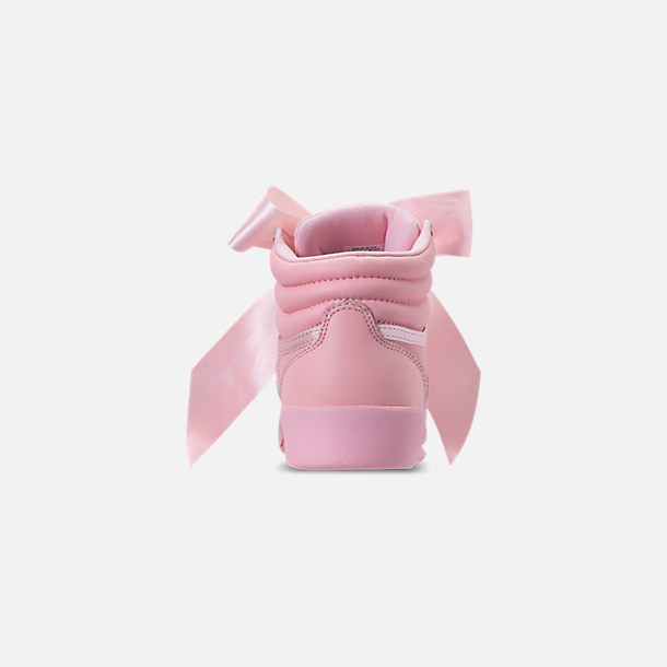 Back view of Girls' Little Kids' Reebok Freestyle Hi Satin Bow Casual Shoes in Saturated Luster Pink