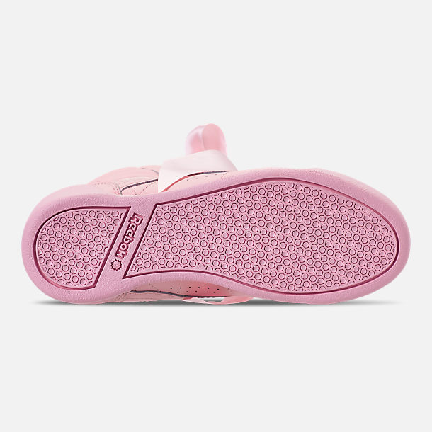 Bottom view of Girls' Little Kids' Reebok Freestyle Hi Satin Bow Casual Shoes in Saturated Luster Pink