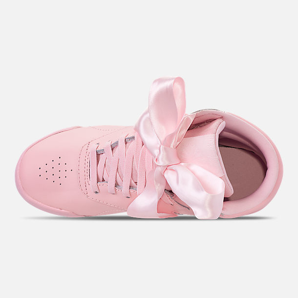 Top view of Girls' Little Kids' Reebok Freestyle Hi Satin Bow Casual Shoes in Saturated Luster Pink