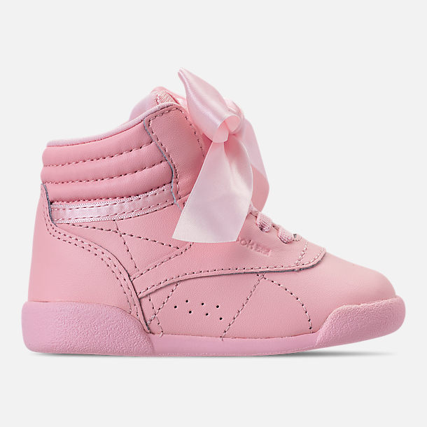 8df3063c3dc350 Right view of Girls  Toddler Reebok Freestyle Hi Satin Bow Casual Shoes in  Saturated Luster