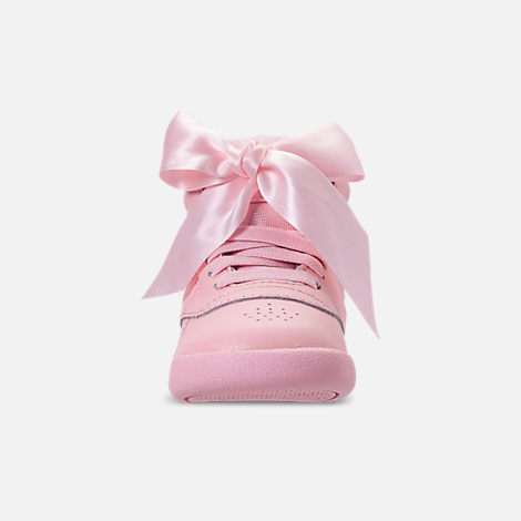 721f3550d3e27 Front view of Girls  Toddler Reebok Freestyle Hi Satin Bow Casual Shoes in  Saturated Luster