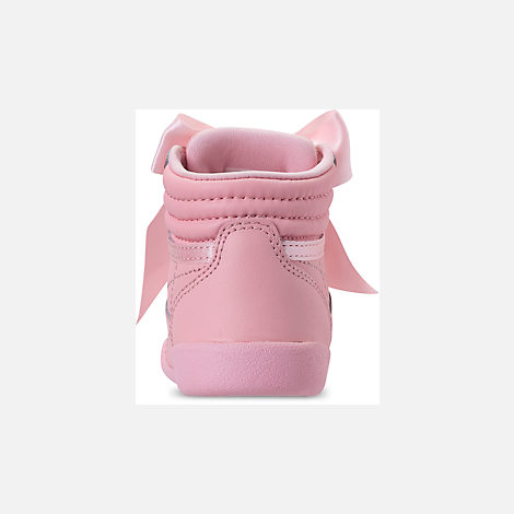 e06d54e2a942b Back view of Girls  Toddler Reebok Freestyle Hi Satin Bow Casual Shoes in  Saturated Luster